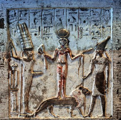 Stele depicting the goddess Qadesh holding a lotus flower to ithyphallic god Min and a snake to desert god Resheph.