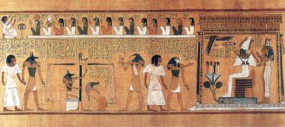 Egyptian Last Judgement depicting Anubis, Osiris, Maat, Ammit, Thoth, Isis, Nephthys